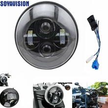 1 PCS Black 40w Headlight Motorcycle led headlamp 7'' Motorcycle Black Projector Daymaker LED Light Bulb Headlight for Harley(China)