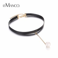 eManco Neutral Elegant Choker Necklace Gifts for Women Rope Wax Copper Brass Imitation Pearl Pendants Brand Jewelry Accessories(China)