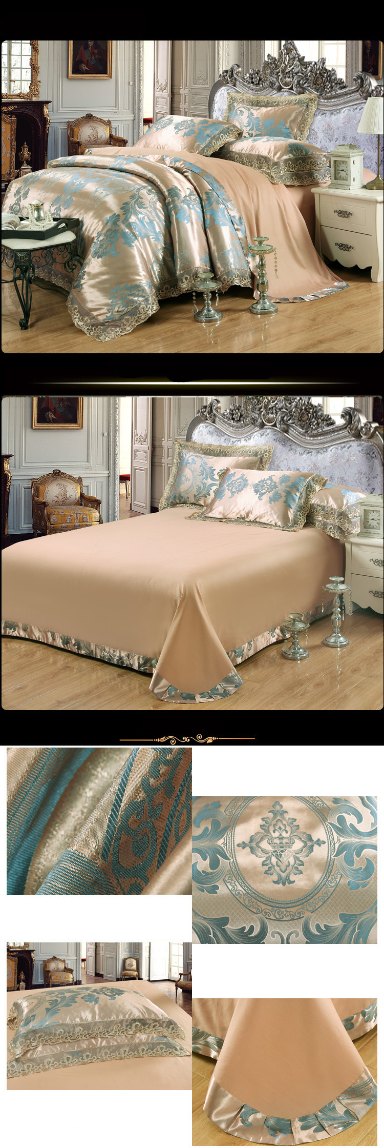 New Luxury Embroidery Tinsel Satin Silk Jacquard Bedding Set, Queen, King Size, 4pcs/6pcs 24