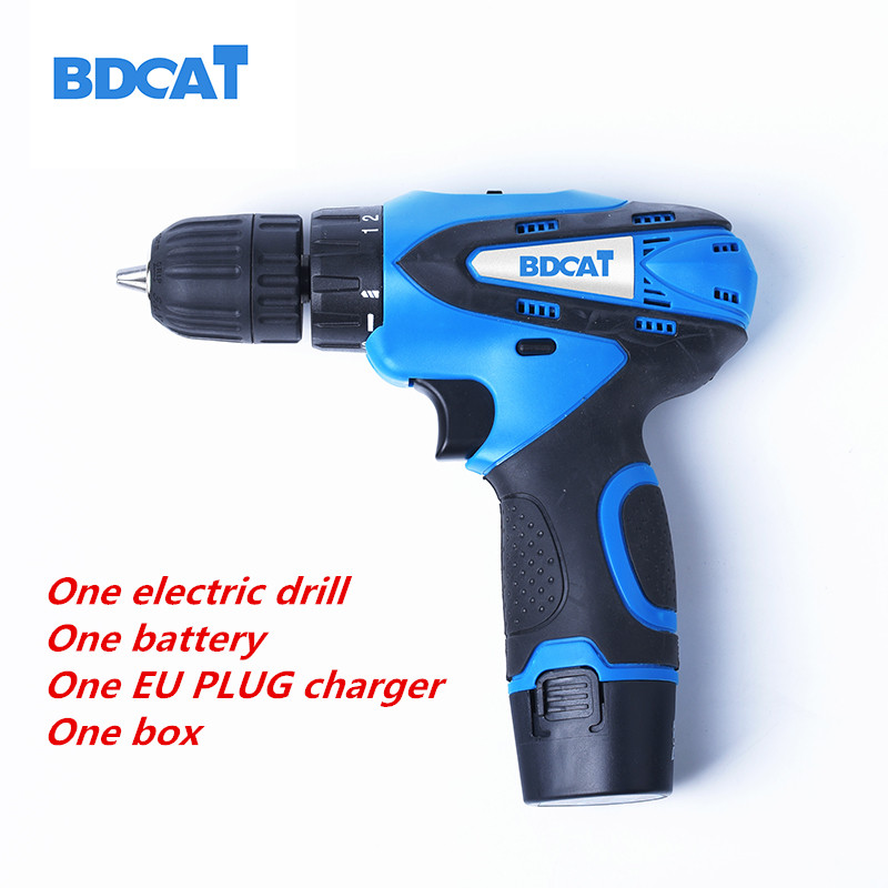 bdcat  12V Cordless Drill Rechargeable lithium battery electric drill mini drill power tools battery Screwdriver with eu/us plug<br>