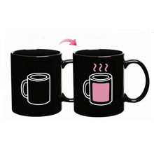 Funny Pink Coffee Cup Pattern Temperature Sensing Color Changing Mug Magical Chameleon Coffee Mug Milk Tea Cup Novelty Gifts