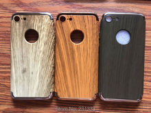 For Iphone 7 PLUS I7 7PLUS Iphone7 Wood Printed Electroplate PC Hard Case Wooden Hybird 3IN1 Cell Phone Skin Cover Fashion 10pcs(China)