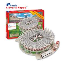 Canidce guo 3D puzzle DIY toy paper building model Estadio Narodowy Poland Stadium football soccer assemble game baby gift 1set(China)