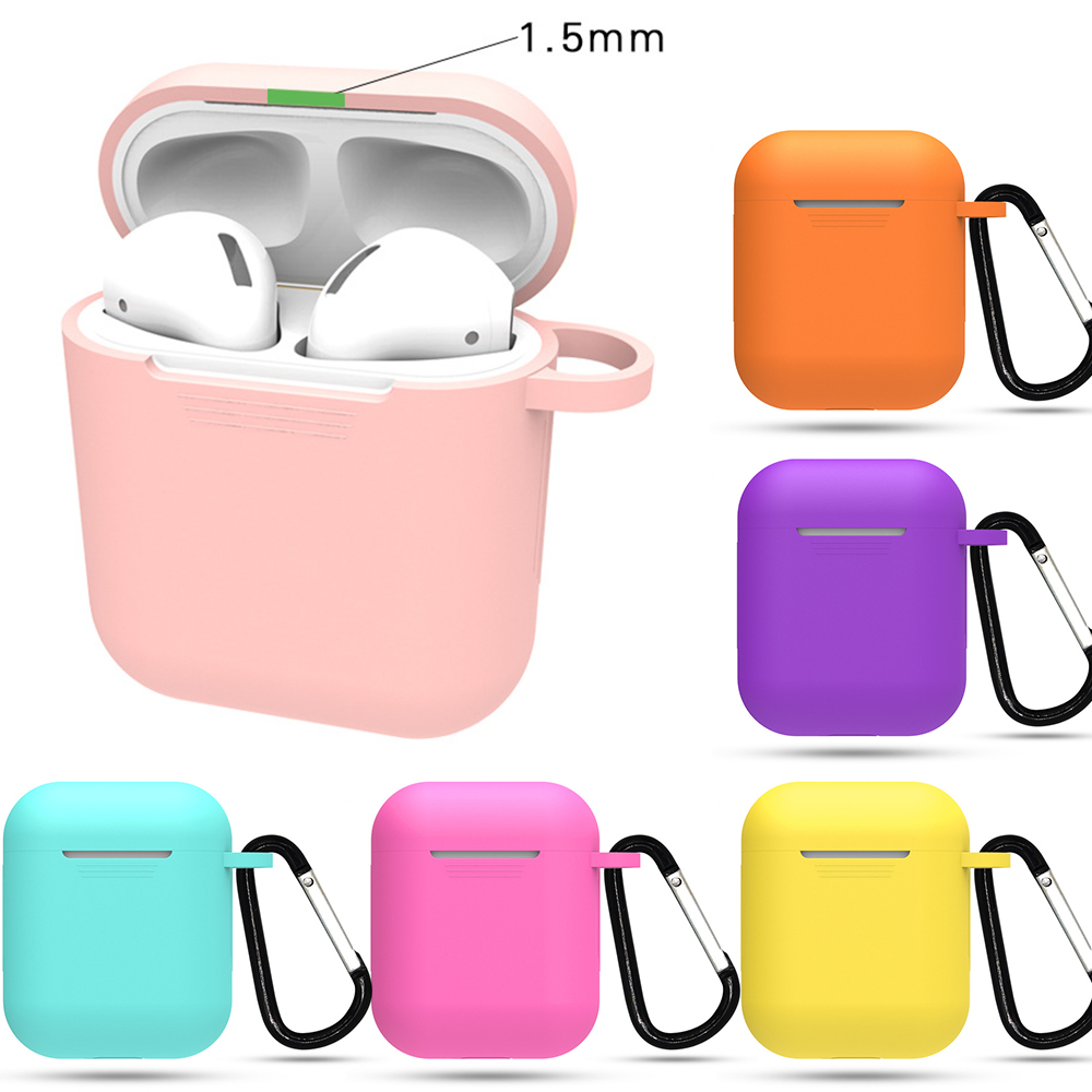1PCS Silicone TPU Bluetooth Wireless Earphone Case Protective Cover Skin Accessories for Apple Airpods Charging Box with Hooks(China)