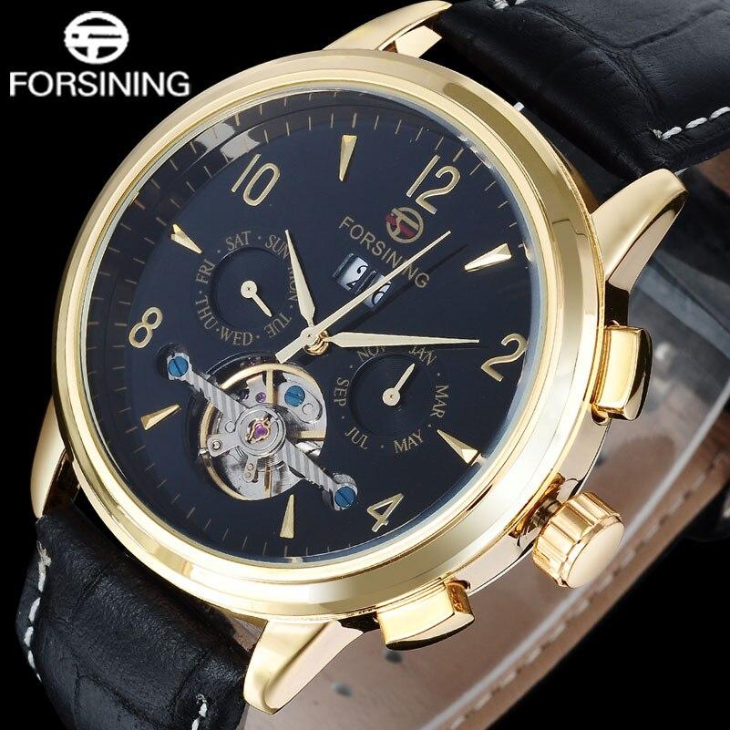 Forsining 2017 Sport Brand MenS Watch Calendar Automatic Mechanical Tourbillion Fashion Gold Number Relogio Masculino A849<br>