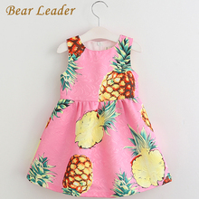 Bear Leader New Summer Girls Dress Children Clothing Pink Sleeveless Pineapple Print Classic Design for Girls Clothes Trend Suit