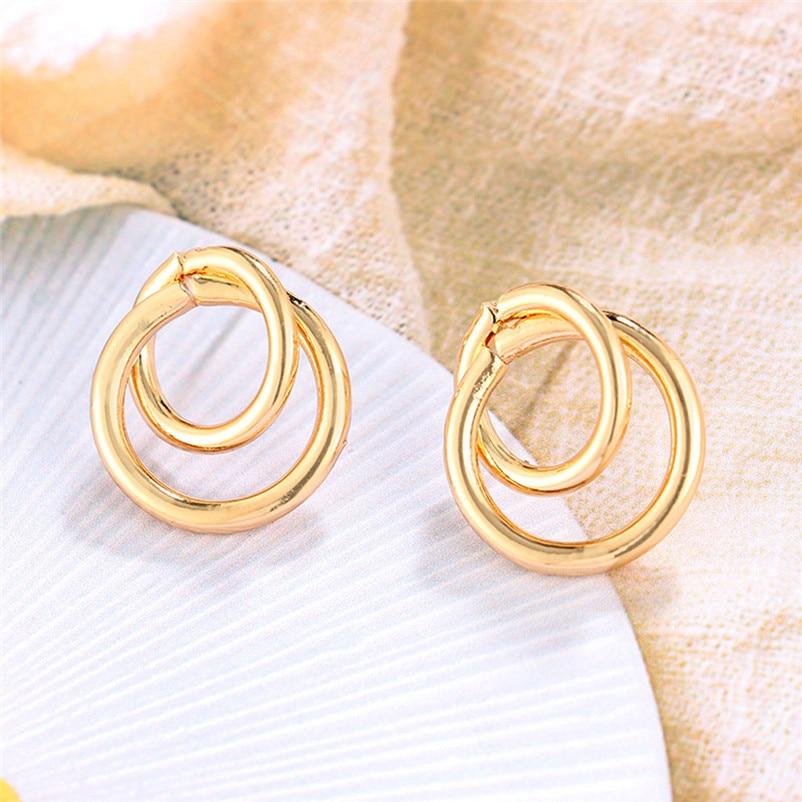 2018 Trendy stud earrings for Women Punk Tone Bamboo Bling Big Hoop Joint Hiphop Circle Pierced Earrings Brincos J04#N (4)