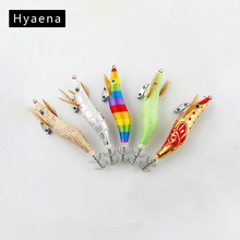Hyaena 5pcs Hard Squid Jig Lures Artificial Squid Jigs Bait Wood Shrimp Squid Jigging Lures Fishing Hook Size 2.5 3 3.5