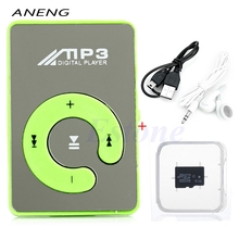 ANENG HOT SALE  Mini Mirror USB Digital Clip Mp3 Music Player+Micro SD TF Card 4GB +Earphone+USB Data Cable 8 Color Choice