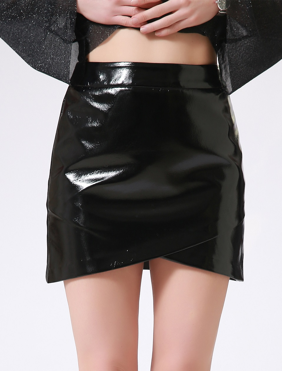 Autumn Winter Women Sexy Mini Skirt Black faux Patent Leather Female Short Pencil Skirt Zipper Fashion Streetwear Skirts Talever 5