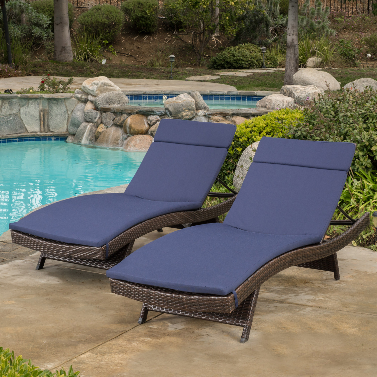 Lakeport Outdoor Adjustable Chaise Lounge Chairs w/ Cushions (set of 2)