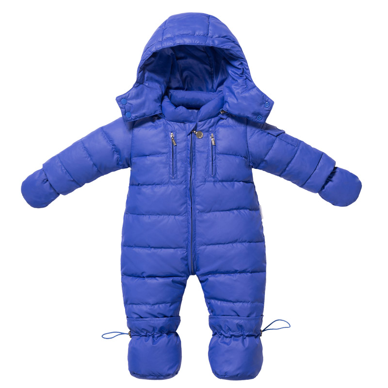 Baby Winter Romper Feather Filler For Boys Girls Degree -10 to -30 Jumpsuit With Hat Footed Gloves Cute Infant Outwear Clothes<br>
