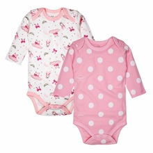 2 pcs/lot Baby Clothing 100% Cotton Newborn Baby Bodysuits Long Sleeved Child Garment Baby Girls Clothes(China)