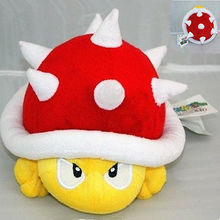 New Cute Spiny Koopa Super Mario Plush Soft Toy Red Shell Stuffed Animal Figure 4in
