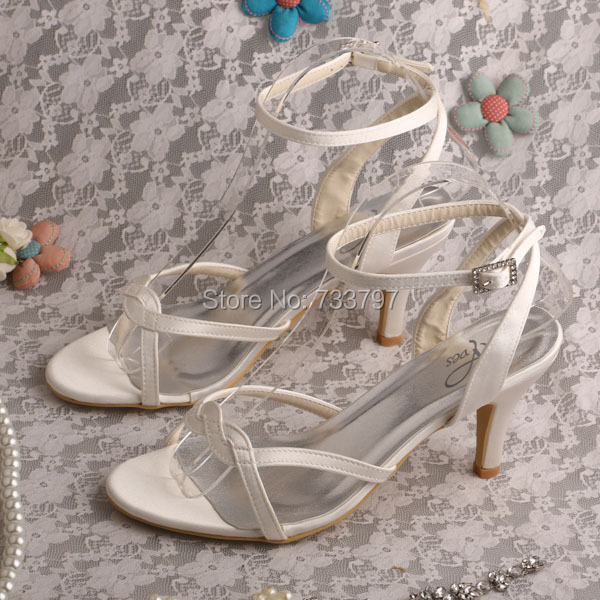 Wedopus MW490 Womens Medium Heel Peep Toe Ivory Satin Wedding Sandals Bridal <br>