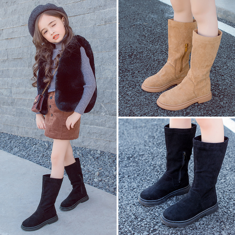 AAdct 2018 new Genuine leather girls boots autumn winter cotton kids high boots with velvet princess Brand children boots <br>