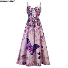 Buy 2018 New Women Ladies Casual Strapless butterfly Printed V-Neck strapless long Dress vocation holiday vintage summer dresses for $17.53 in AliExpress store