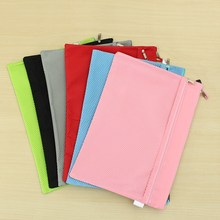 Kicute Double Layer A4 Canvas Oxford Cloth Zipper Paper File Folder Book Pencil Pen Case Bag Waterproof File Document Bags