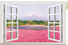2016 Limited Sale Romantic Flower Blossom With Fuji Mountain Wall Stickers Landscape 3d Window Decals Living Room Bedroom Murals
