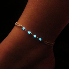 New Design Silver Color Charm Heart Shape Blue Fluorescence Light Two Layers Chain Girl Women Bracelets Gift(China)