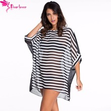 Pareo 2017 Dear Lover Beach Cover Up Round Neck Seven Bat Sleeves Bikini Cover Ups Swimwear Robe Women Bathing Suit Beach Outlet(China)