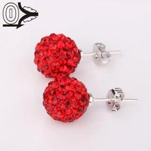 New Style!Handmade Disco Ball Beads,Men Gift Crystal Shamballa Earring,Fashion Round Colors Czech Stud Earrings