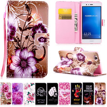 PU Leather Case For Huawei P8 P9 Lite Y5 II flower Pattern Cartoon Painted back cover flip stand wallet style case
