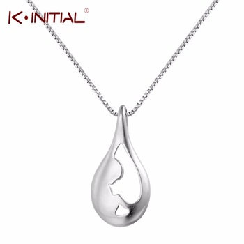 Kinitial 925 Silver Charms Jewelry Tear Drop Pendant Chain Necklace Hollow Water Drop Choker Necklaces for Woman Party Gift