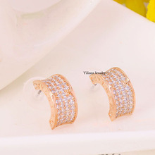 ENY33487 Hot sale elegant micro crystal earrings zinc alloy rose gold color silver color with Austria crystal fashion jewelry(China)