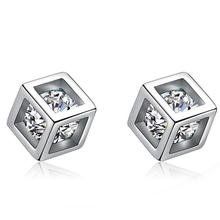 Silver Plated Stud Earrings Small Love Cube Earrings Male And Female Models fashion silver jewelry hypoallergenic
