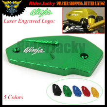 Laser Logo Ninja Green/Black/Blue/Red/Golden Motorcycle CNC Front Brake Reservoir Cover Cap For Kawasaki Ninja 650 2017