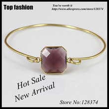 F-064 Square Glass Bezel Quartz Gem stone Bangle,Delicate onyx Birthstone purple Stone Cuff Bangle Bracelet Jewelry Gift