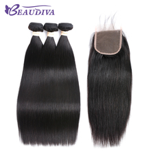 Beaudiva Hair Pre-colored Brazilian Hair Straight Hair 3 Bundles 100% Human Hair Bundle With Closure Nature Color Free Shipping(China)