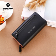 DOLOV Wallet women long section of the students a small fresh retro personality zipper simple buckle ultra-thin folding wallet