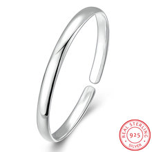 Ann & Snow 925 Sterling Silver Simple Classic Design Smooth Open Cuft Bangles Women's Fashion Jewelry Gigts B116