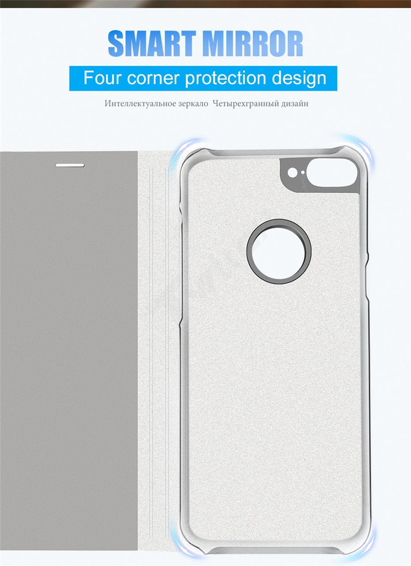 SHUOHU Luxury Case for iPhone 8 7 6 6 S Plus Ultra Slim Mirror Smart Case for iPhone 8 iPhone 7 Cover Phone Holder for iPhone X 8