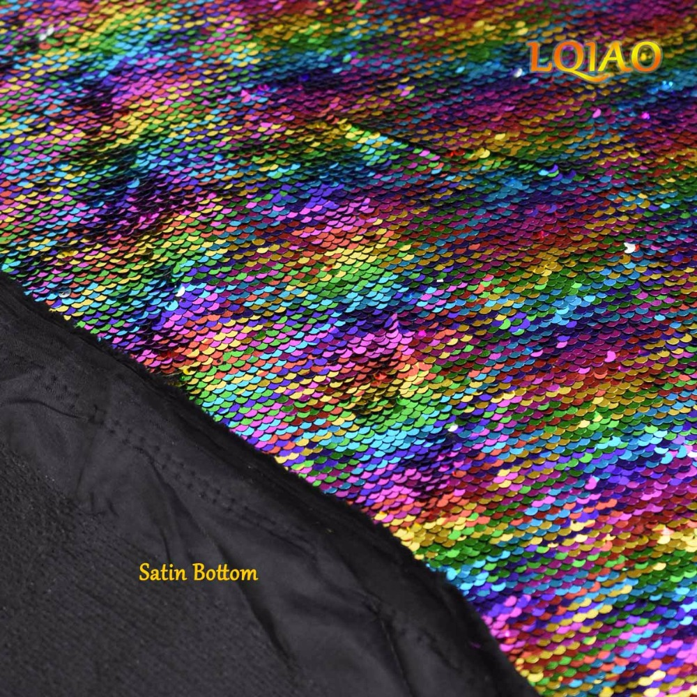 Sequin Fabric Reversible Rainbow Silver-005