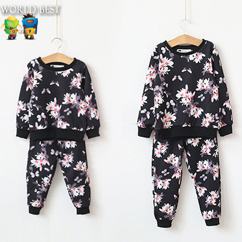 Autumn 2015 New Kids Clothes Tracksuit Girls Clothes Long-Sleeve Flower Tops+Long Trousers Boys Clothes Children Clothing Set<br><br>Aliexpress