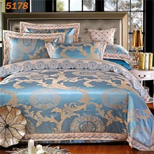 new arrival Sky blue silk bedding set 4pcs queen king size silk bed set European style duvet cover bedsheet pillowcases 5178.