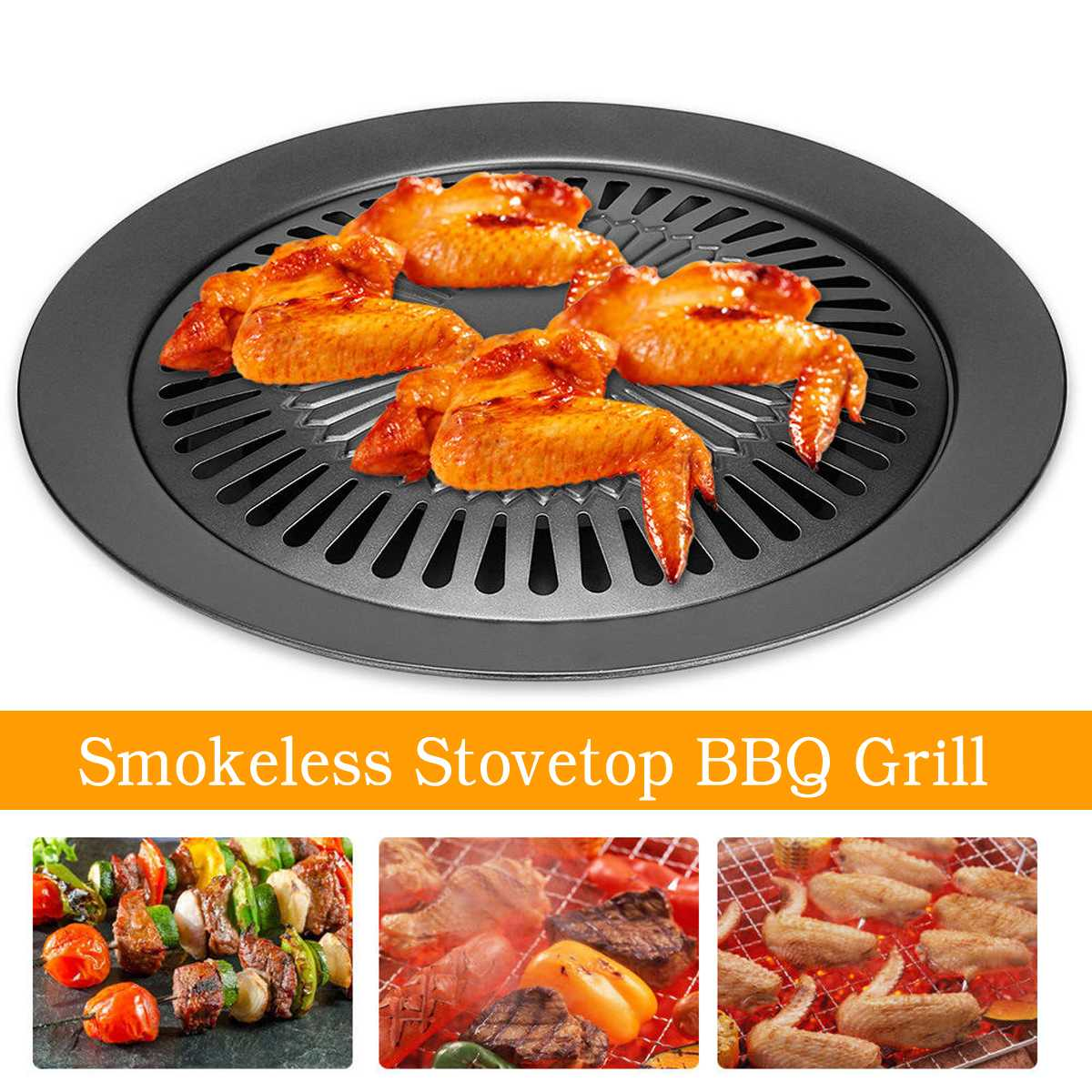Smokeless Indoor Stovetop BBQ Grill Barbeque Kitchen Barbecue Pan Griddle Black