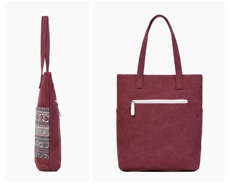 Canvasartisan Brand new canvas women handbags floral vintage female shopping shoulder bag zipper closure tote hand bags 15