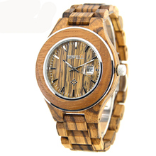 New BEWELL Brand Wood Men's Quartz Watches Waterproof and Calendar Clock Handmade Relogio Masculino Watches with Box 100AG