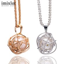 Imixlot Asymmetric Wire Ball Necklace Insert Pearl Silver/Gold Color Simulated Pearl Necklaces & Pendants For Women DIY Jewelry