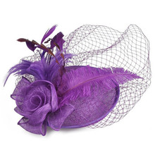 Hair Accessoies Women Fascinator Cambric Hair Clip Feather Flower Dotted Mesh Hairclip Lady Headdress For Cocktail Party FS99(China)