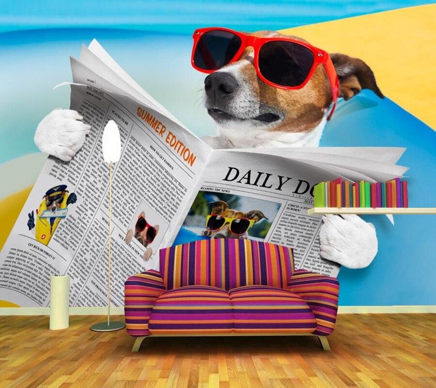 Custom murals,Cartoon dog wearing glasses to read newspaper wallpaper,living room sofa tv wall children bedroom papel DE parede<br>