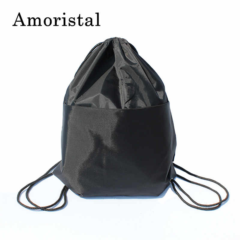 87f89d0d42 High Quality Nylon Drawstring Bag String Sack Women Men Travel Storage  Package Teenagers Backpack Solid Color