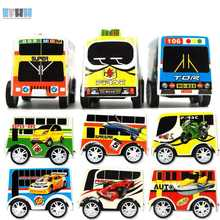 EFHH 1Pcs Baby Mini Pull-back School Bus Toys Plastic Models Toy Gifts Color Random