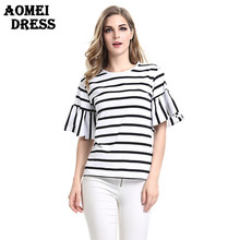 2017 Women Butterfly Sleeve Casual T Shirt Striped Black and White O Neck Summer Spring T-shirt Woman Clothes Tee Shirts Tops