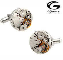 Factory Price Retail Watch Cufflinks For Men Vintage Stainless Steel Unique Watch Movement design Cuff Links(China)