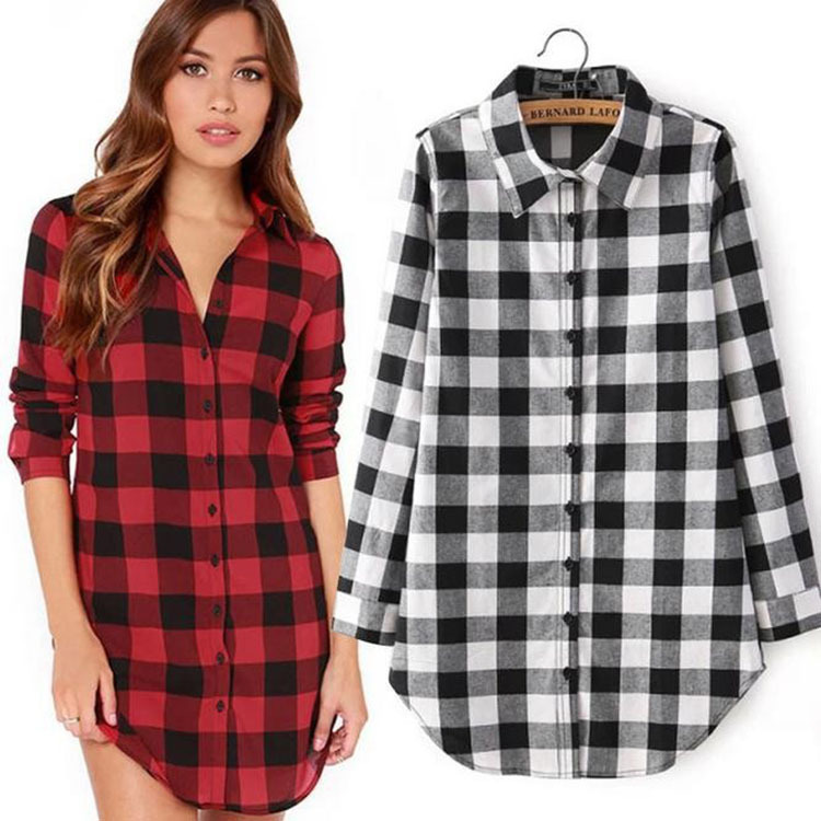 Long Women Plaid Sleeve Ladies Shirt Tops Chemise Femme Sexy Summer Fashion Woman Feminine Blouses 2018 Tunic Korean Style(China)